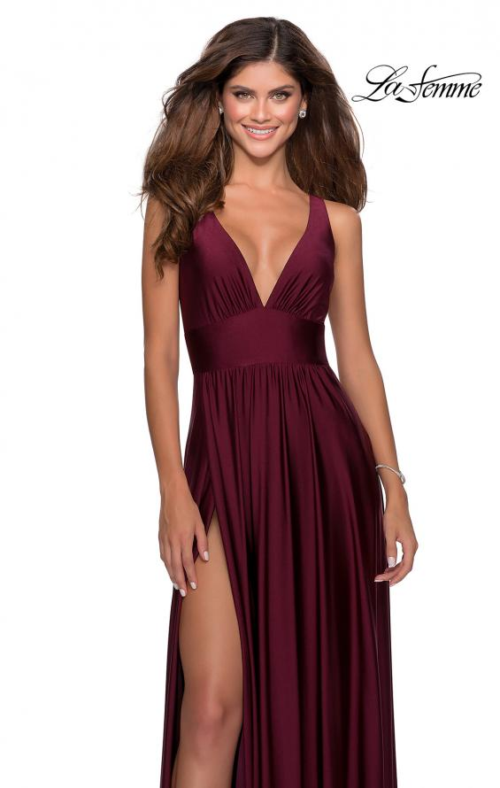 Picture of: Empire Waist Prom Gown with Deep V Neckline in Burgundy, Style: 28547, Main Picture