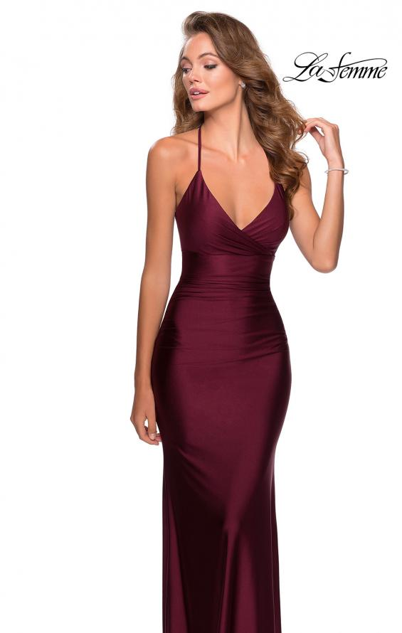 Picture of: Empire Waist Dress with Ruching and Lace Up Back in Burgundy, Style: 28593, Main Picture