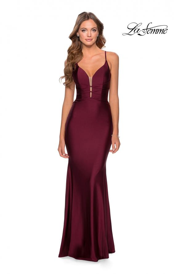 Picture of: Long Prom Dress with Knotted Detail and Lace Up Back in Burgundy, Style: 28574, Detail Picture 8