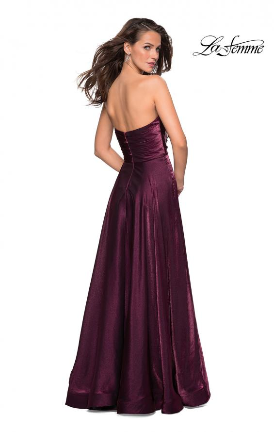 Picture of: Strapless Satin Gown with Ruching and Pockets, Style: 27130, Back Picture