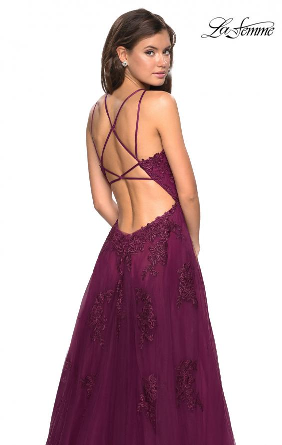Picture of: Tulle Prom Dress with Lace Bodice and Strappy Back in Burgundy, Style: 27143, Back Picture