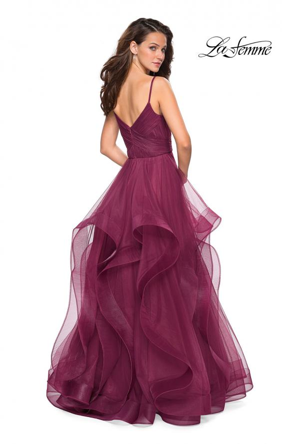 Picture of: Cascading Tulle Formal Gown with Sweetheart Neckline in Burgundy, Style: 27223, Back Picture