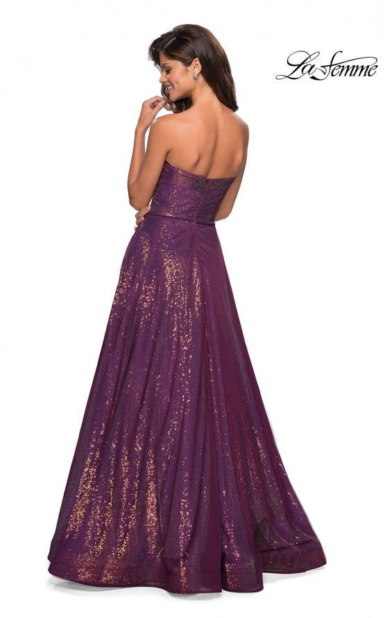 Picture of: A Line Fully sequin Strapless Prom Gown in Burgundy, Style: 27296, Back Picture