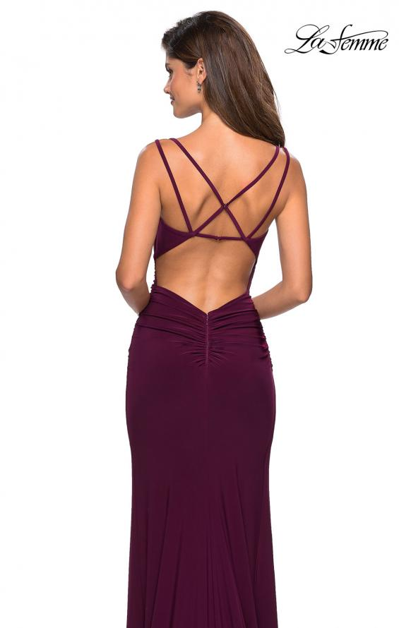Picture of: Form Fitting Long Jersey Dress with Ruching in Burgundy, Style: 27564, Back Picture