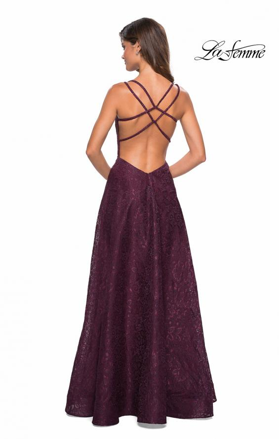 Picture of: Lace Prom Dress with Illusion Neckline and Slit in Burgundy, Style: 27612, Back Picture