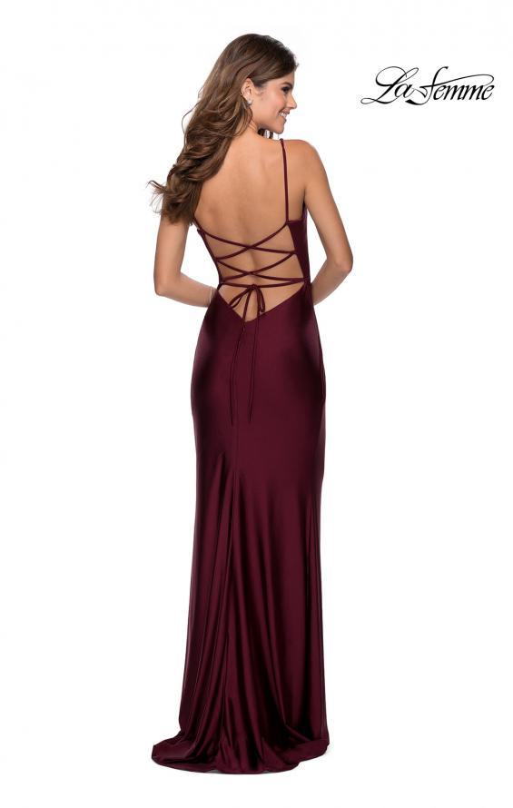 Picture of: Ruched Jersey Prom Dress with Tie Up Back in Burgundy, Style: 28421, Back Picture