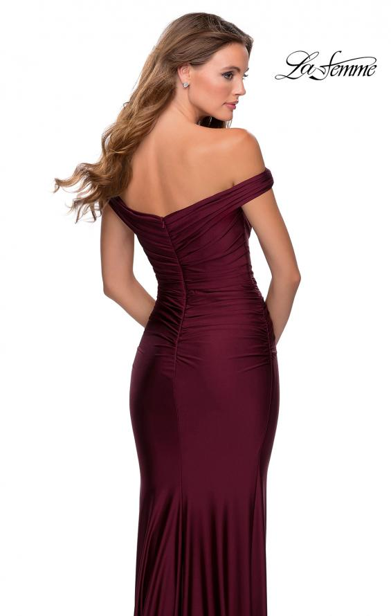 Picture of: Off the Shoulder Prom Dress with Sweetheart Neckline in Burgundy, Style: 28450, Back Picture