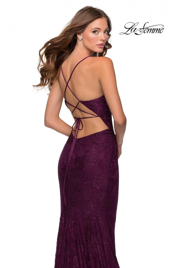 Picture of: Lace Prom Gown With Sheer Bodice and Tie Up Back in Burgundy, Style: 28534, Back Picture