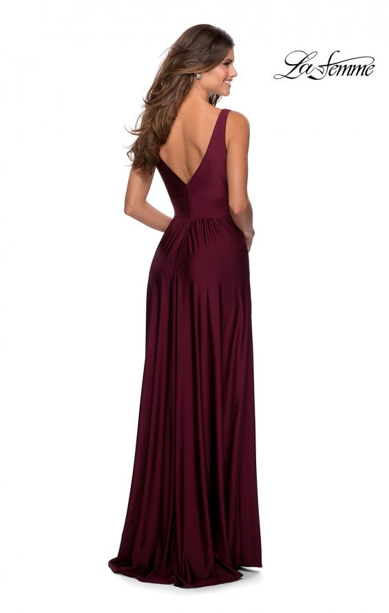 Picture of: Empire Waist Prom Gown with Deep V Neckline in Burgundy, Style: 28547, Back Picture