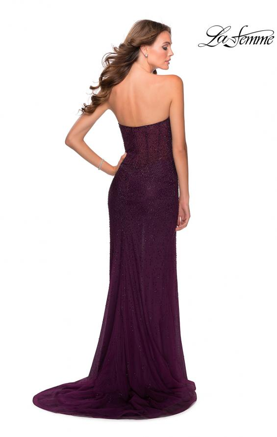 Picture of: Rhinestone Strapless Tulle Dress with Sheer Bodice in Burgundy, Style: 28621, Back Picture