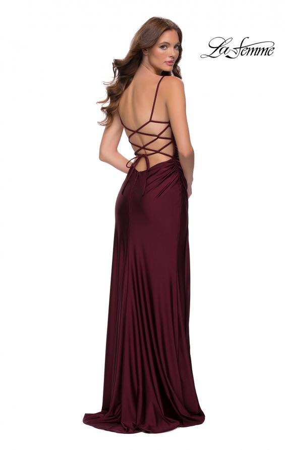 Picture of: Jersey Dress with Square Neckline and Ruching in Dark Berry, Style 29710, Back Picture