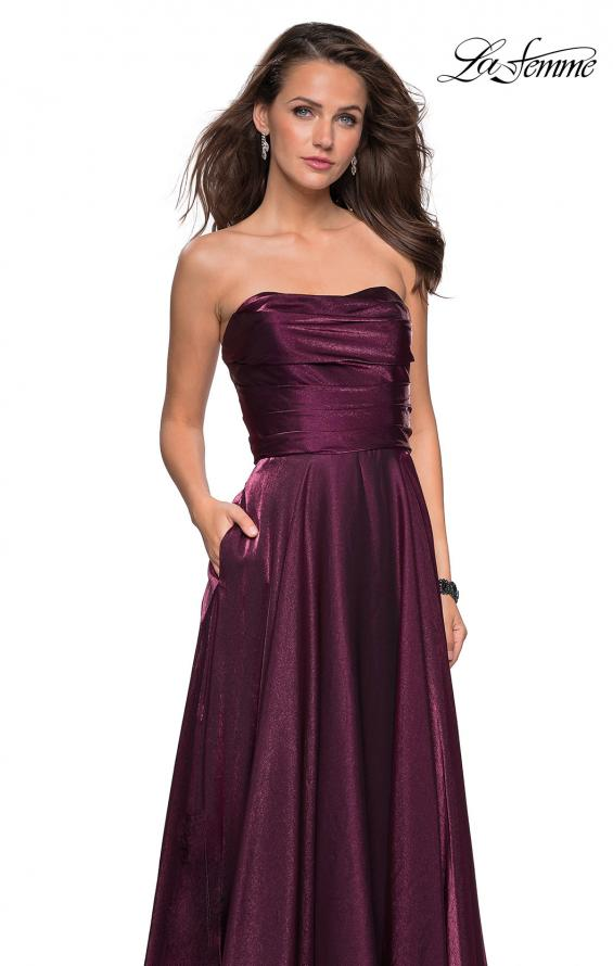 Picture of: Strapless Satin Gown with Ruching and Pockets, Style: 27130, Detail Picture 1