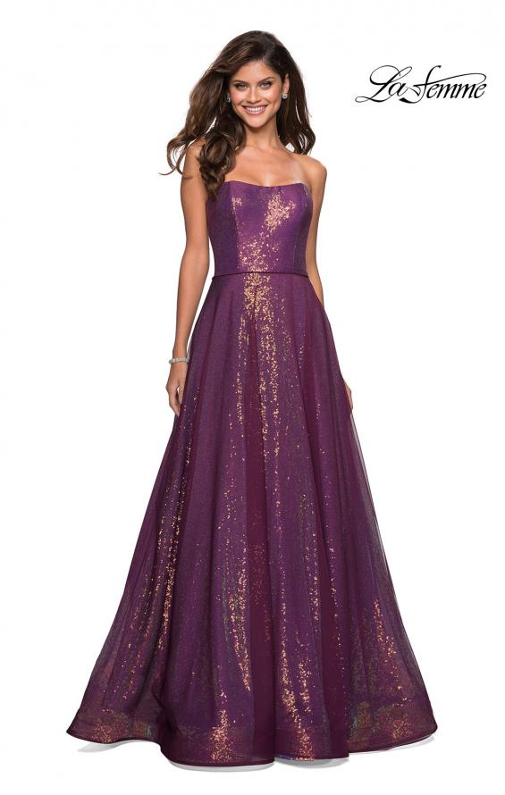 Picture of: A Line Fully sequin Strapless Prom Gown in Burgundy, Style: 27296, Detail Picture 1