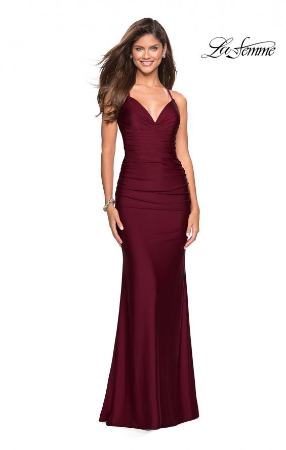 Picture of: Form Fitting Jersey Dress with Ruching and Strappy Back in Burgundy, Style: 27501, Detail Picture 1