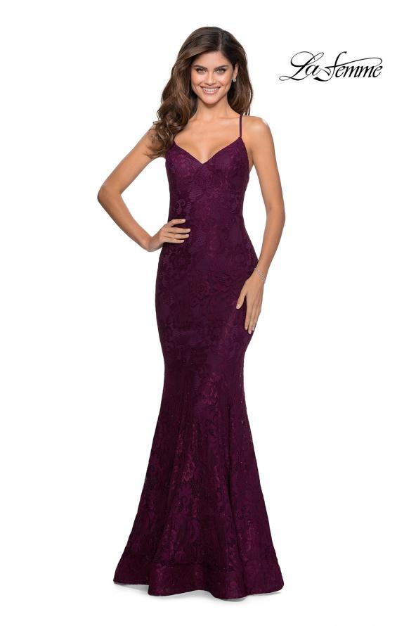 Picture of: Long Mermaid Lace Prom Dress with V Shaped Neckline in Burgundy, Style: 28504, Detail Picture 1
