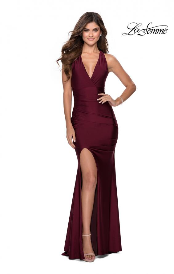 Picture of: Sleek Prom Dress with Deep V-Neckline and Tie Back in Burgundy, Style: 28677, Detail Picture 1