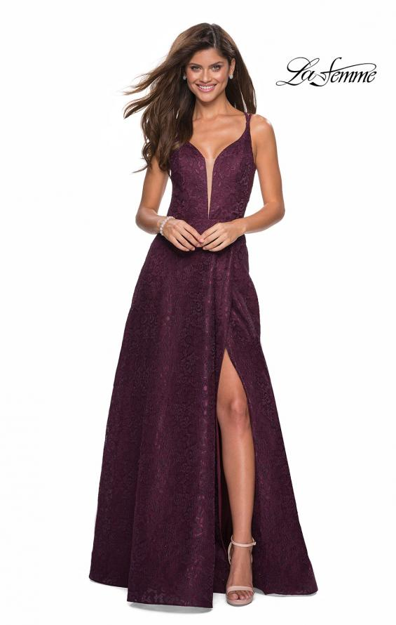 Picture of: Lace Prom Dress with Illusion Neckline and Slit in Burgundy, Style: 27612, Detail Picture 2