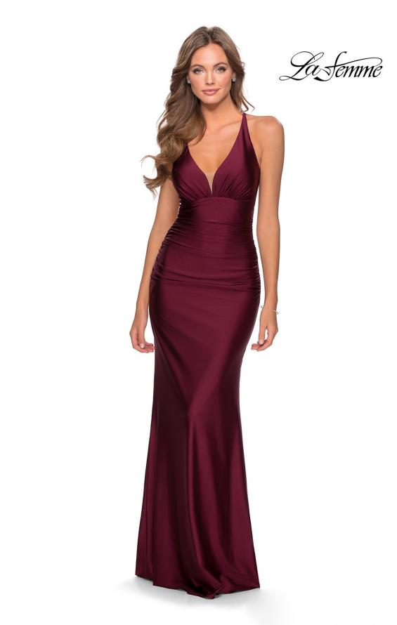 Picture of: Ruched Jersey Prom Dress with Strappy Lace Up Back in Burgundy, Style: 28297, Detail Picture 2