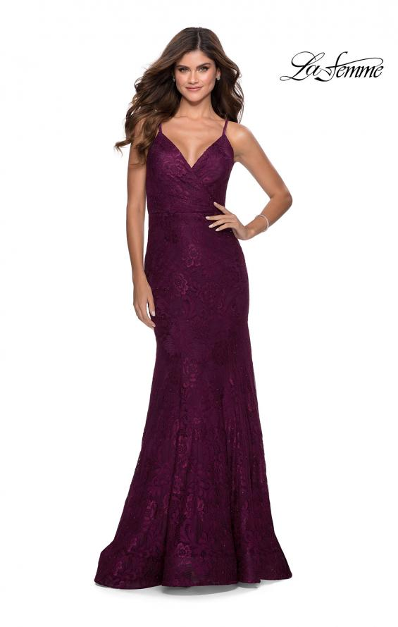 Picture of: Mermaid Lace Prom Dress with Faux Wrap Top in Burgundy, Style: 28564, Detail Picture 2