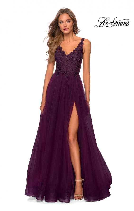 Picture of: Pretty A-line Prom Dress with Sheer Floral Bodice in Burgundy, Style: 28680, Detail Picture 2
