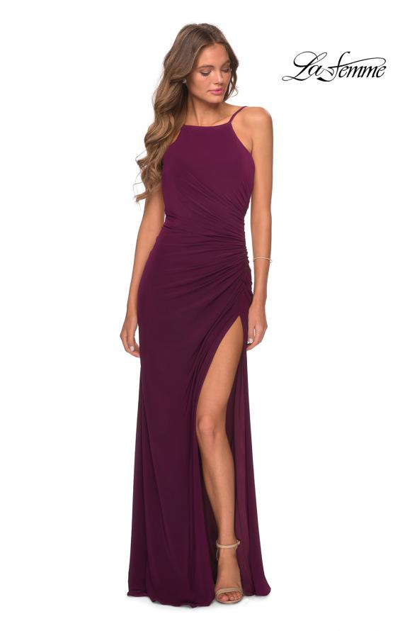 Picture of: Jersey Prom Dress with High Neck and Open Back in Burgundy, Style: 28302, Detail Picture 3