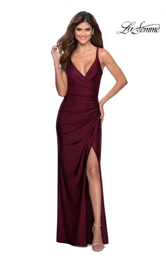 Picture of: Ruched Jersey Prom Dress with Tie Up Back in Burgundy, Style: 28421, Detail Picture 3