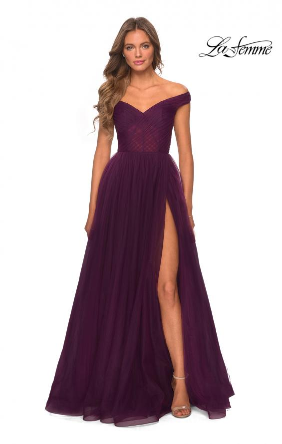 Picture of: Off The Shoulder Tulle Prom Dress with Sheer Bodice in Burgundy, Style: 28462, Detail Picture 3