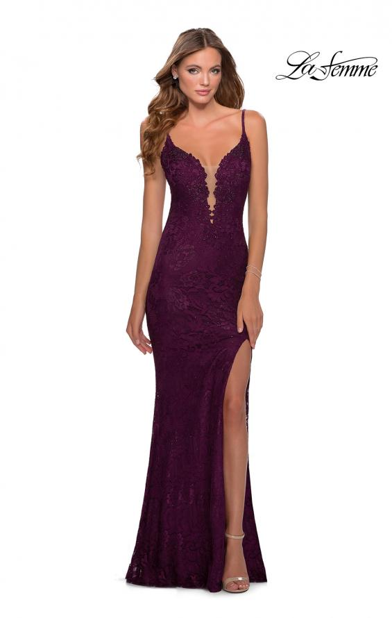 Picture of: Lace Prom Dress with Deep V-Neck and Rhinestones in Burgundy, Style: 28556, Detail Picture 3