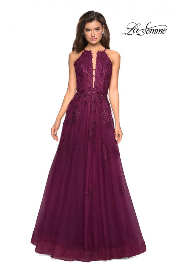 Picture of: Tulle Prom Dress with Lace Bodice and Strappy Back in Burgundy, Style: 27143, Detail Picture 4
