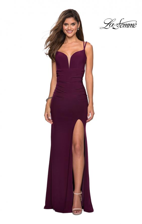 Picture of: Form Fitting Long Jersey Dress with Ruching in Burgundy, Style: 27564, Detail Picture 4