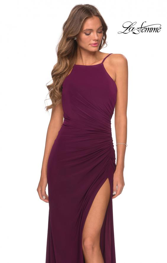 Picture of: Jersey Prom Dress with High Neck and Open Back in Burgundy, Style: 28302, Detail Picture 4