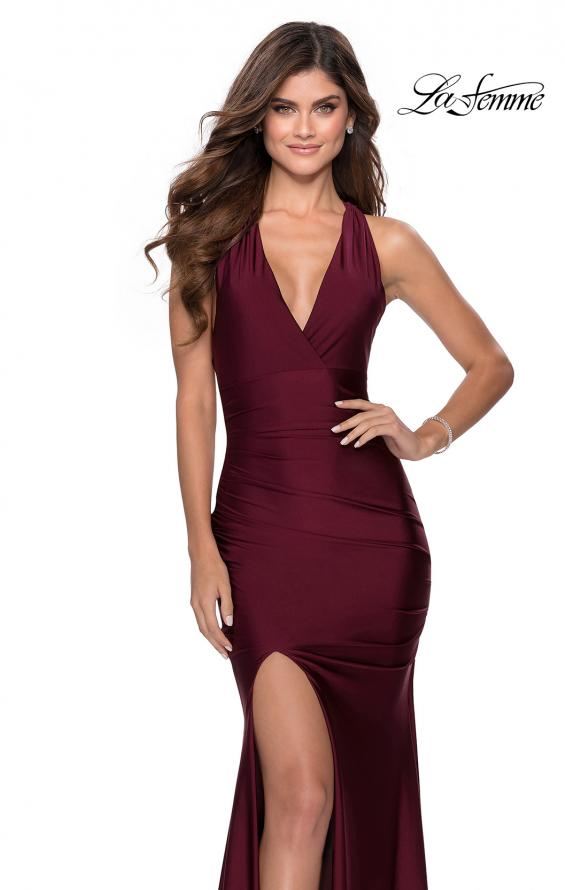 Picture of: Sleek Prom Dress with Deep V-Neckline and Tie Back in Burgundy, Style: 28677, Detail Picture 4
