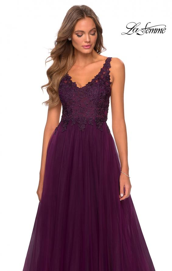 Picture of: Pretty A-line Prom Dress with Sheer Floral Bodice in Burgundy, Style: 28680, Detail Picture 4