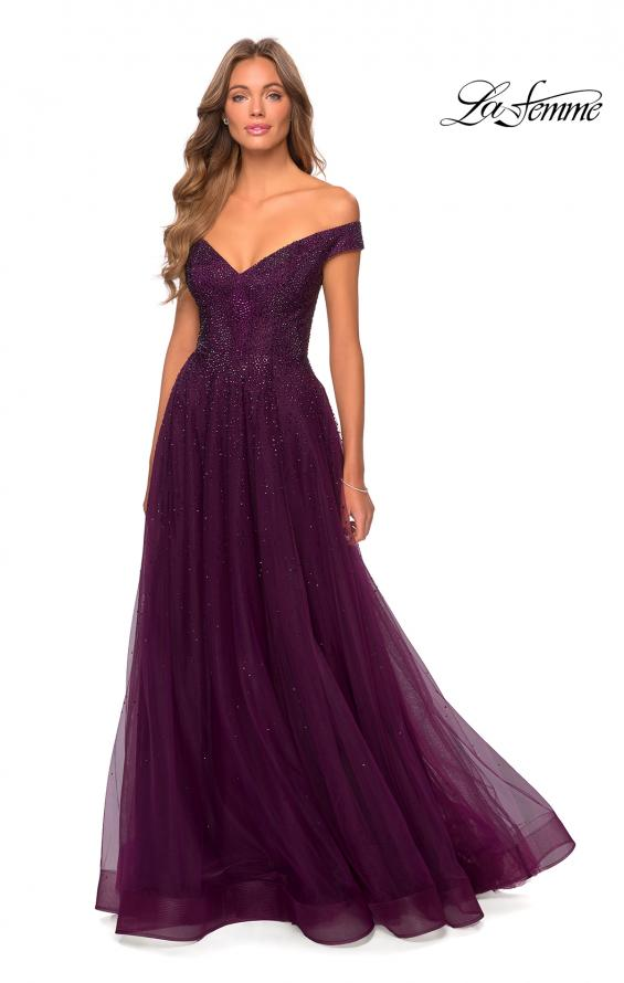 Picture of: Off The Shoulder Beaded Tulle Prom Dress in Burgundy, Style: 28774, Detail Picture 4