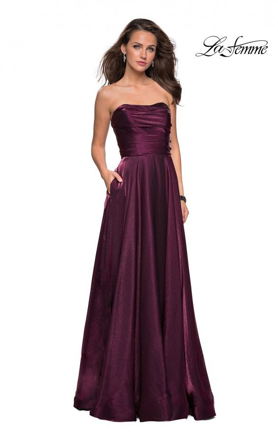Picture of: Strapless Satin Gown with Ruching and Pockets, Style: 27130, Detail Picture 5