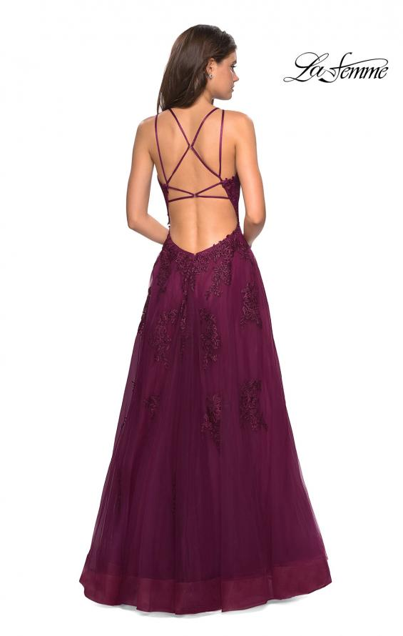 Picture of: Tulle Prom Dress with Lace Bodice and Strappy Back in Burgundy, Style: 27143, Detail Picture 5