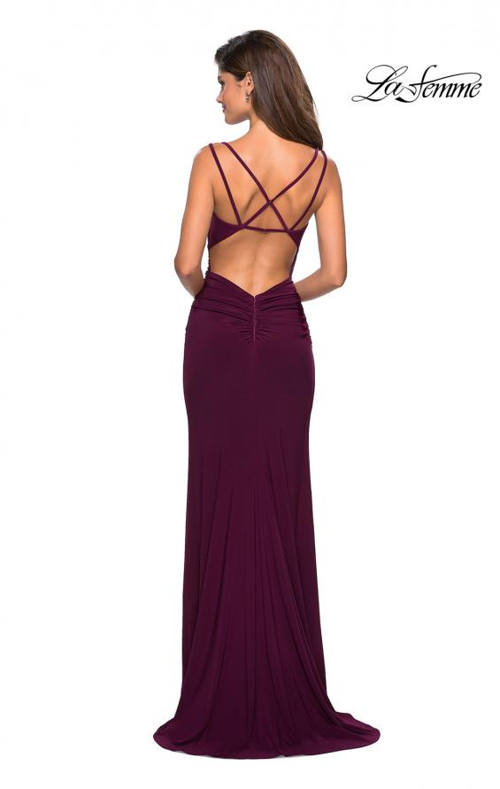 Picture of: Form Fitting Long Jersey Dress with Ruching in Burgundy, Style: 27564, Detail Picture 5