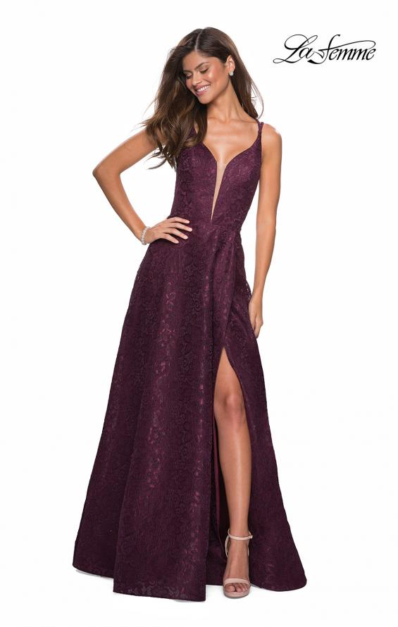 Picture of: Lace Prom Dress with Illusion Neckline and Slit in Burgundy, Style: 27612, Detail Picture 5