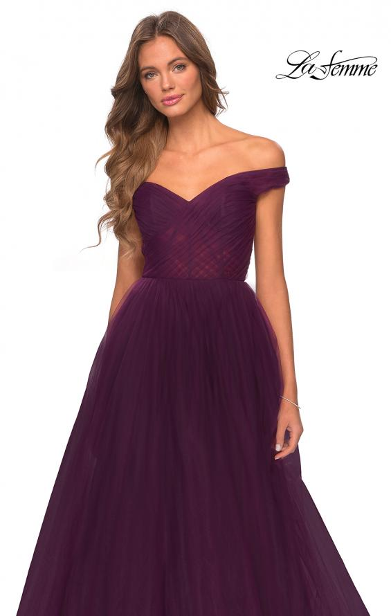 Picture of: Off The Shoulder Tulle Prom Dress with Sheer Bodice in Burgundy, Style: 28462, Detail Picture 5