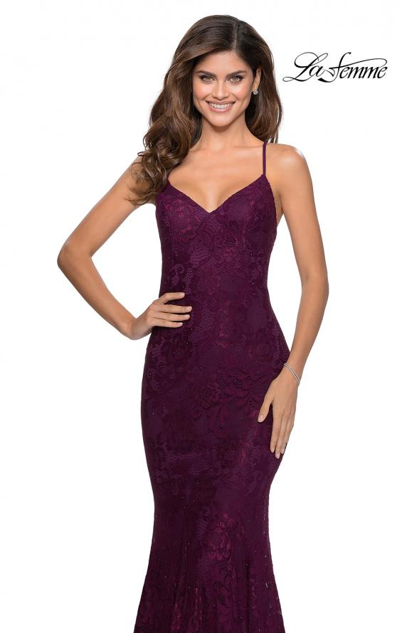 Picture of: Long Mermaid Lace Prom Dress with V Shaped Neckline in Burgundy, Style: 28504, Detail Picture 5