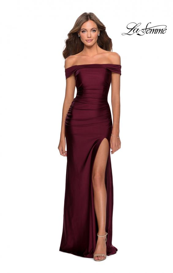 Picture of: Off the Shoulder Prom Dress with Tie Back and Slit in Burgundy, Style: 28506, Detail Picture 5
