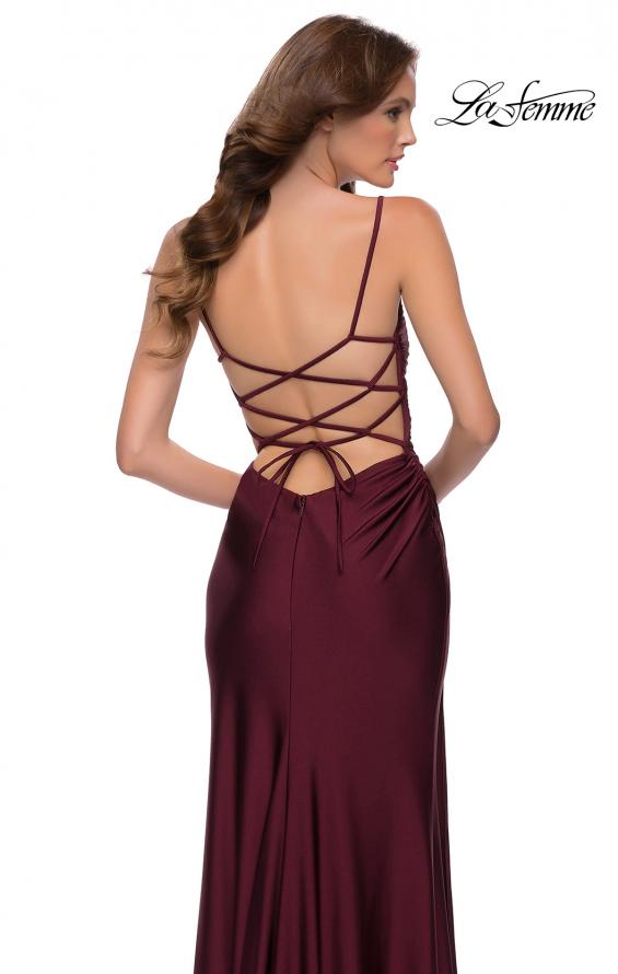 Picture of: Jersey Dress with Square Neckline and Ruching in Dark Berry, Style 29710, Detail Picture 5