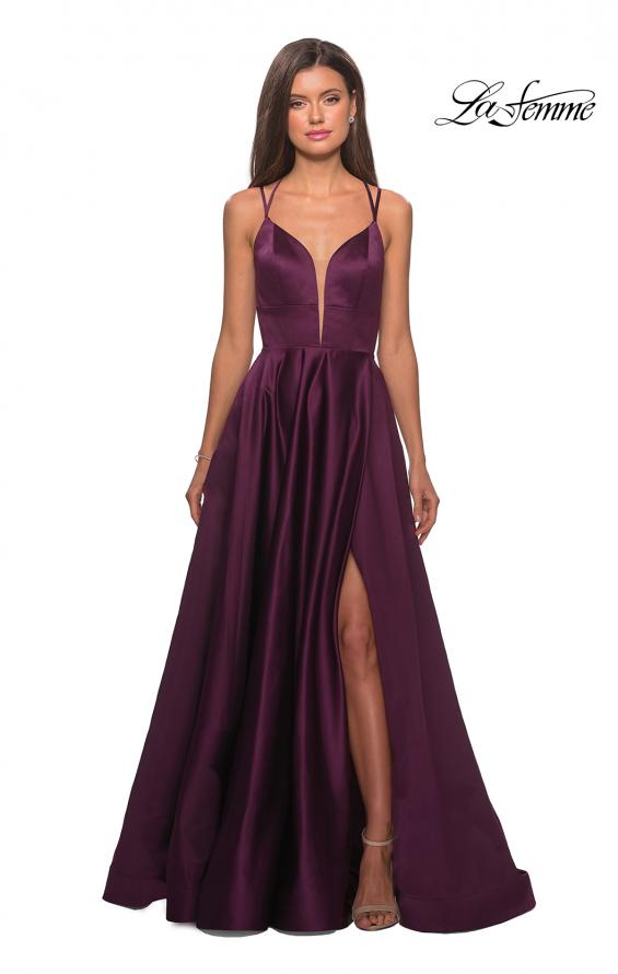 Picture of: Long Satin Formal Gown with Leg Slit and Strappy Back in Burgundy, Style: 26994, Detail Picture 6