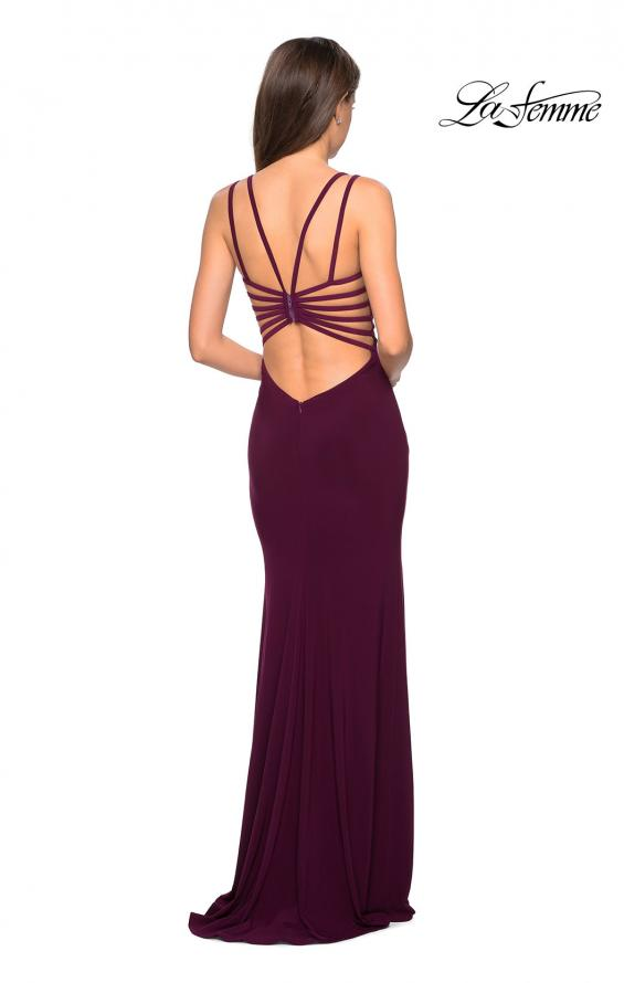 Picture of: Sultry Long Dress with Intricate Strappy Back in Burgundy, Style: 27072, Detail Picture 7
