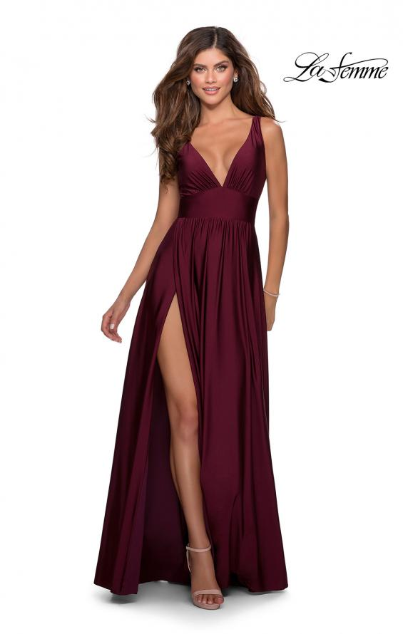 Picture of: Empire Waist Prom Gown with Deep V Neckline in Burgundy, Style: 28547, Detail Picture 7