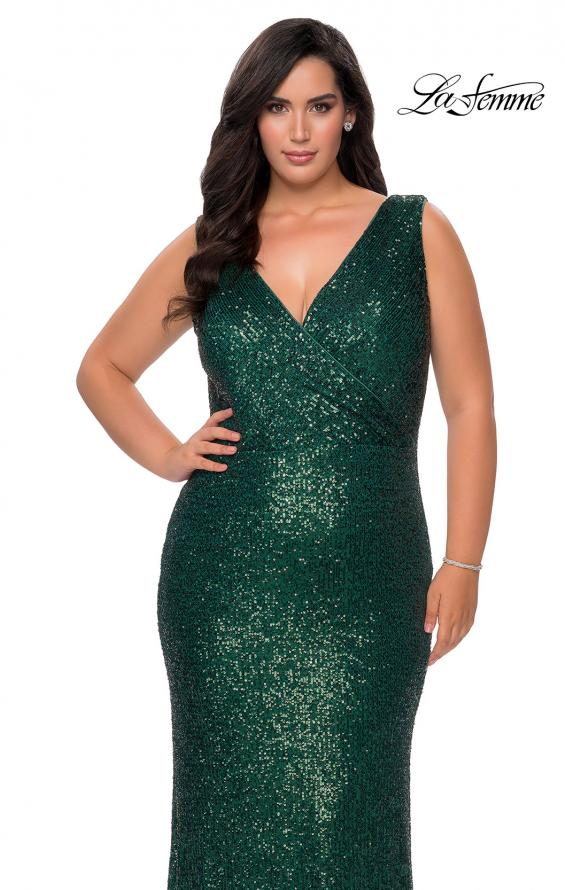 Picture of: Long Sequin Plus Size Prom Gown with V-Neck in Dark Emerald, Style: 28770, Detail Picture 7