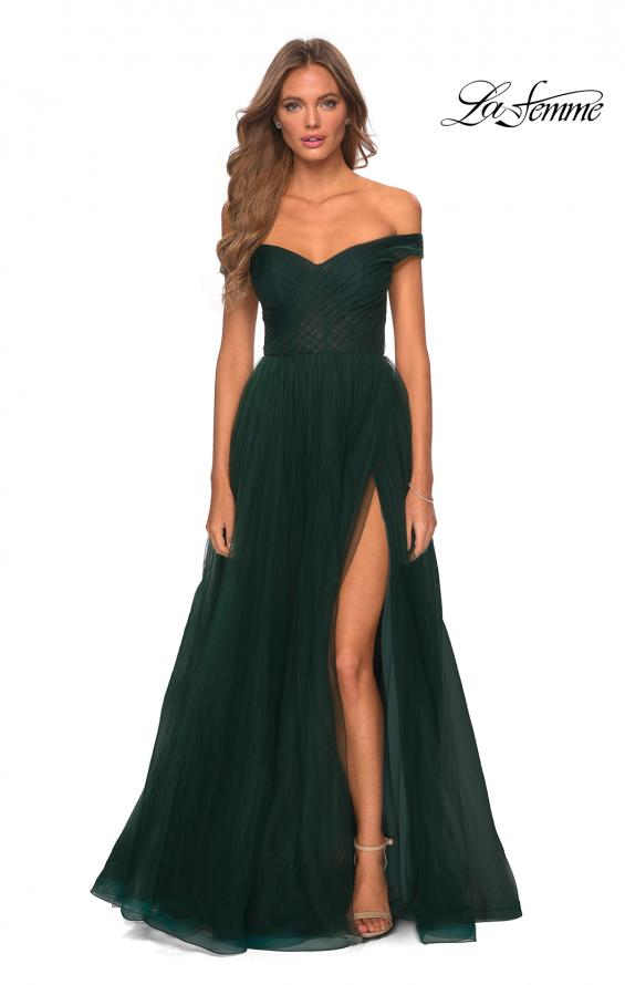 Picture of: Off The Shoulder Tulle Prom Dress with Sheer Bodice in Dark Emerald, Style: 28462, Detail Picture 4