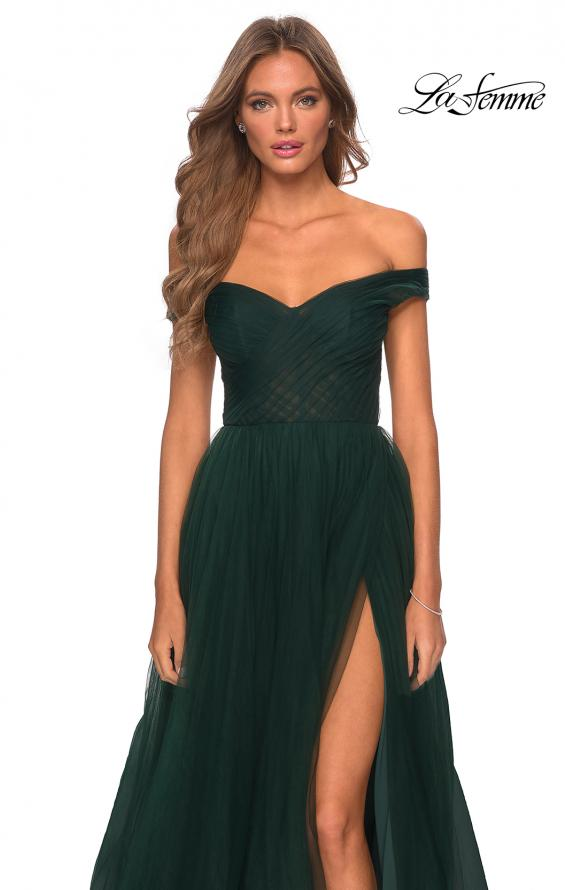 Picture of: Off The Shoulder Tulle Prom Dress with Sheer Bodice in Dark Emerald, Style: 28462, Detail Picture 6