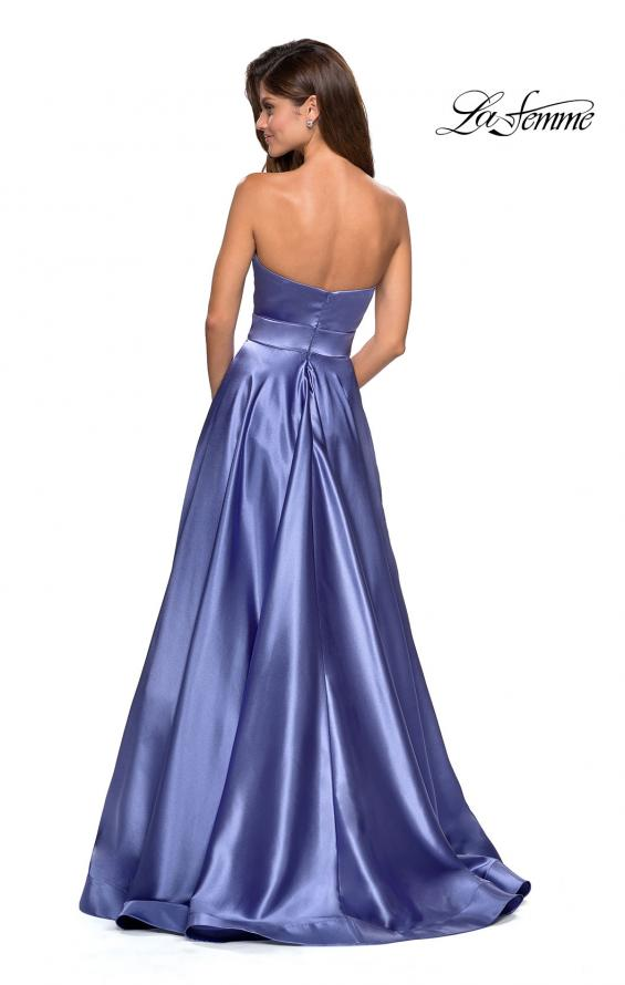 Picture of: Strapless Metallic Prom Gown with Empire Waist in Dark Periwinkle, Style: 27506, Back Picture