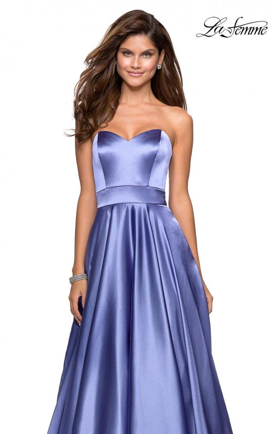 Picture of: Strapless Metallic Prom Gown with Empire Waist in Dark Periwinkle, Style: 27506, Detail Picture 4